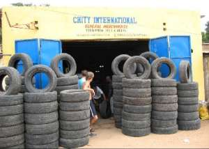 Chity's Tire Shop In Nagua Only Used And Abused Sold Here. They Try To Live Up To Their Name