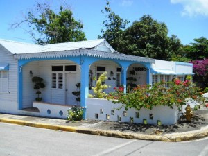 Common type of Dominican style home. in many of the towns.